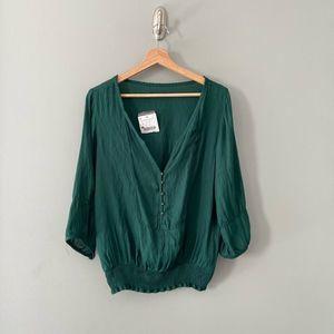 Zara Deep V Emerald Crepe Boho Blouse Size Large